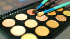 Make up palette lying on a table with three brushes on it, the shot is moving Stock Footage