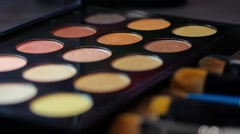 Footage of a professional make-up palette, the shot is coming into focus Stock Footage