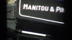 1959: simple black and white sign for manitou and pike's peak r. y. COLORADO Stock Footage