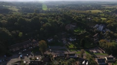 Aerial view of an English village Stock Footage