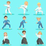 Kids On Martial Arts Training Piirros