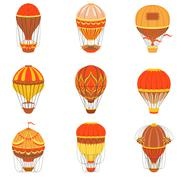 Retro Hot Air Balloons Set Stock Illustration