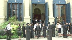 Thai King's Death People Exit Grand Palace Wat Stock Footage