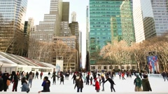 Bryant Park Ice Skating on a Snowy Day Manhattan Stock Footage