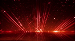 Red light beams and shimmering particles loopable background Stock Footage
