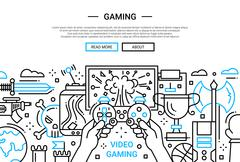 Video Gaming - line design website banner Stock Illustration