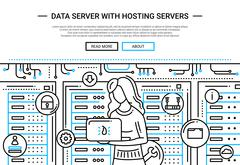 Data Server and Hosting - line design website header Stock Illustration
