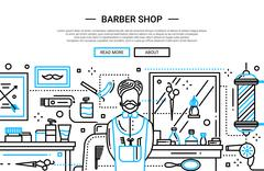 Barber Shop In the City - website banner Stock Illustration