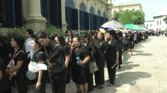 Thai King's Death Inside Grand Palace Paying Respects Stock Footage