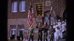 1965: students in sailor uniforms in a marching band SAINT LOUIS MISSOURI Stock Footage