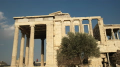 Side view of the erechthion in athens, greece Stock Footage