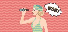 Pop art  woman holding binoculars in her hands. Wow in speech bubble. Stock Illustration