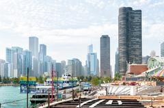 Chicago skyline view from the Navy Pier, USA Stock Photos
