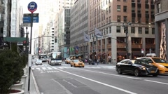 X27 and M4 Buses 5th Ave. Manhattan Stock Footage