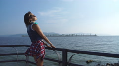 Beautiful hipster woman enjoing beautiful view Stock Footage