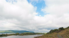 Top view of the river, islands and mountains on the horizon. The movement of Stock Footage