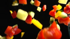 Chopped Vegetables Mix Falls in Slow Motion Closeup Stock Footage