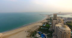 Panning shot of Waldorf Astoria and beach Ras Al Khaimah Stock Footage