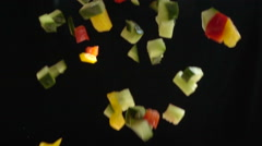 Chopped Vegetables Mix Falls in Slow Motion Stock Footage