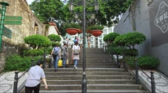 Old Steps in Taipa Village, Timelapse Stock Footage