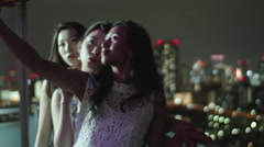 Girls party on the balcony taking selfies  Stock Footage