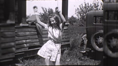 Happy Skinny Teen Girl Dances Shakes Hips 1930s Vintage Film Home Movie 10261 Stock Footage