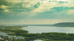 Coastal view of islands on the water with lots houses and buildings. Mountain Stock Footage