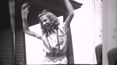 Happy Skinny Teen Girl Dances for Joy Silly 1930s Vintage Film Home Movie 10260 Stock Footage