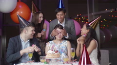 Friends celebrating Japanese womens birthday party  Stock Footage