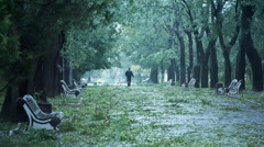 Man Walking In The Park During Stormy Dangerous Weather Slow Motion Stock Footage