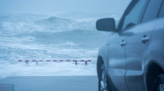 Car Parked On Sea Coast Watching Stormy Ocean Slowmo Arkistovideo