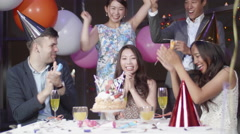 Surprise birthday party for beautiful Japanese women international friends  Stock Footage