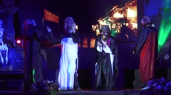 Unidentified  actor hungry ghost show on stage at Night Thai Halloween. Stock Footage