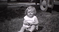 Unhappy Sad Little Girl Crying Crybaby Child 1930s Vintage Film Home Movie 10257 Stock Footage