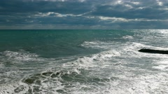 Seascape on dramatic cloud background Stock Footage