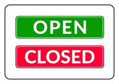 Open and Closed door Sign Stock Illustration