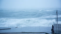 Stormy Waves Breaking On The Pier in Slow Motion Stock Footage