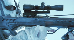 The soldier with the crossbow and Raven. Fantasy. The post Apocalypse. Stock Footage