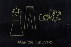 Fashion blogging: dress and jeans illustration with camera Stock Illustration
