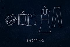 Fashion choices: dress & jeans illustration with shopping bags Stock Illustration