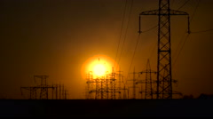 Sunset and power lines Stock Footage