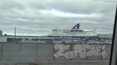 View from a Moving Train Looking Out Towards Docks in Copenhagen Stock Footage