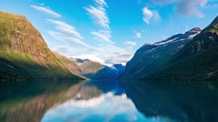 Lovatnet lake Beautiful Nature Norway timelapse. Stock Footage