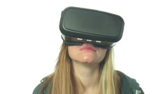 Woman in VR-Headset watching coral Reef Stock Footage