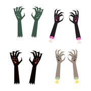 Creepy zombie corpse hands vector set Piirros