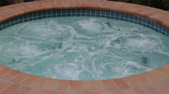 Outdoor Hot Tub Water Bubbling Stock Footage