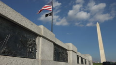 Wide on one bronze bas relief panel, WW II Memorial Stock Footage