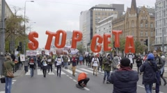 DEMONSTRATION AGAINST CETA, TTIP Stock Footage