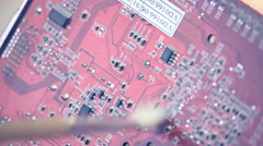 Cleaning of electronic circuit board Stock Footage