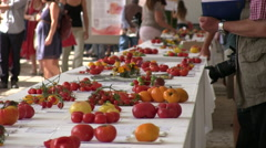 Event for tomato tasting Stock Footage